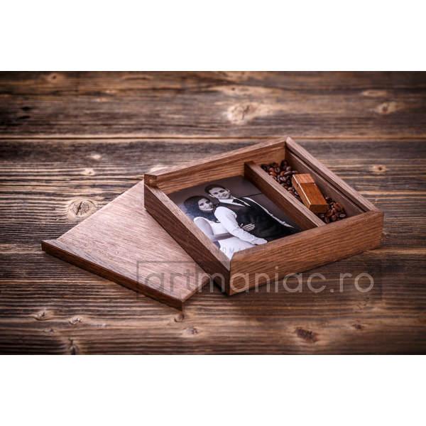 Cutie lemn (pătrat) stick + foto Model: CCCASTAN